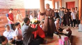 bem aventurado : HAI DUONG, VIETNAM, AUGUST, 23: Blessed religious masters for a group of People at the temple on August, 23, 2014 in Hai Duong, Vietnam.