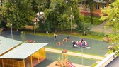 lawn : kindergarten sports ground Stock Footage