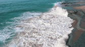 detail : Slow motion Ocean Waves Breaking on Shore, closeup Stock Footage