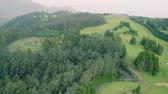 madeira : Aerial View of the Golf Course in Evergreen Foggy Mountains, Island Madeira Portugal Stock Footage