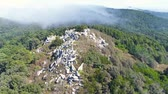 Aerial View of the Mountain Forest with Fog, Sintra Portugal Vídeos
