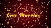 воспоминания : Love Marriage Greeting Card text with sparkling particles shiny background for Celebration,wishes,Events,Message,Holidays,Festival. Стоковые видеозаписи