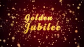 jubileu : Golden Jubilee Greeting Card text with sparkling particles shiny background for Celebration,wishes,Events,Message,Holidays,Festival.