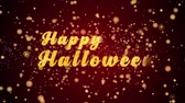 felicitação : Happy Halloween Greeting Card text with sparkling particles shiny background for Celebration,wishes,Events,Message,Holidays,Festival.