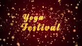 Yoga Festival Greeting Card text with sparkling particles shiny background for Celebration,wishes,Events,Message,Holidays,Festival.