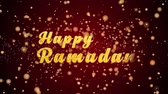memories : Happy Ramadan Greeting Card text with sparkling particles shiny background for Celebration,wishes,Events,Message,Holidays,Festival.