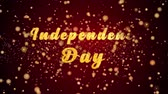 Independence Day Greeting Card text with sparkling particles shiny background for Celebration,wishes,Events,Message,Holidays,Festival.