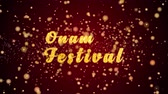 Onam Festival Greeting Card text with sparkling particles shiny background for Celebration,wishes,Events,Message,Holidays,Festival.