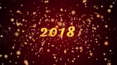 поздравление : 2018 Greeting Card text with sparkling particles shiny background for Celebration,wishes,Events,Message,Holidays,Festival. Стоковые видеозаписи
