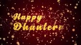 Happy Dhanteras Greeting Card text with sparkling particles shiny background for Celebration,wishes,Events,Message,Holidays,Festival.