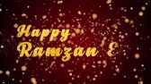 Happy Ramzan Eid Greeting Card text with sparkling particles shiny background for Celebration,wishes,Events,Message,Holidays,Festival.