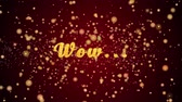 pohlednice : Wow Greeting Card text with sparkling particles shiny background for Celebration,wishes,Events,Message,Holidays,Festival.