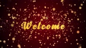 Welcome Greeting Card text with sparkling particles shiny background for Celebration,wishes,Events,Message,Holidays,Festival.