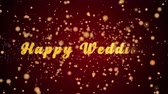 Happy Wedding Greeting Card text with sparkling particles shiny background for Celebration,wishes,Events,Message,Holidays,Festival.