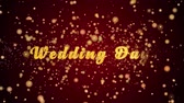 Wedding day Greeting Card text with sparkling particles shiny background for Celebration,wishes,Events,Message,Holidays,Festival.