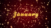 jones : January Greeting Card text with sparkling particles shiny background for Celebration,wishes,Events,Message,Holidays,Festival.