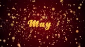 meses : May Greeting Card text with sparkling particles shiny background for Celebration,wishes,Events,Message,Holidays,Festival.