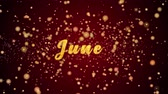 pohlednice : June Greeting Card text with sparkling particles shiny background for Celebration,wishes,Events,Message,Holidays,Festival. Dostupné videozáznamy