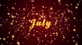 July Greeting Card text with sparkling particles shiny background for Celebration,wishes,Events,Message,Holidays,Festival.