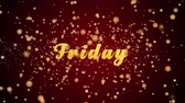 weekdays : Friday Greeting Card text with sparkling particles shiny background for Celebration,wishes,Events,Message,Holidays,Festival.