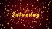 ült : Saturday Greeting Card text with sparkling particles shiny background for Celebration,wishes,Events,Message,Holidays,Festival.