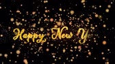 brochura : Happy New Year Abstract particles and fireworks greeting card text with shiny black background for festivals,events,holidays,party,celebration.