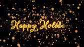 Happy Holidays Abstract particles and fireworks greeting card text with shiny black background for festivals,events,holidays,party,celebration.