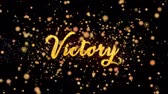 Victory Abstract particles and fireworks  greeting card text with shiny black background for festivals,events,holidays,party,celebration.