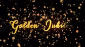rubi : Golden Jubilee Abstract particles and fireworks greeting card text with shiny black background for festivals,events,holidays,party,celebration. Stock Footage