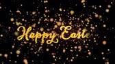 Happy Easter Abstract particles and fireworks greeting card text with shiny black background for festivals,events,holidays,party,celebration. Stock Footage