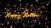 Happy Halloween Abstract particles and fireworks greeting card text with shiny black background for festivals,events,holidays,party,celebration.