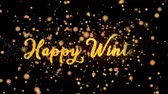 Happy Winter Abstract particles and fireworks greeting card text with shiny black background for festivals,events,holidays,party,celebration.