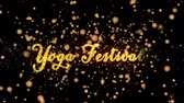 Yoga Festival Abstract particles and fireworks greeting card text with shiny black background for festivals,events,holidays,party,celebration.