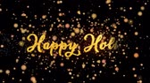Happy Holi Abstract particles and fireworks greeting card text with shiny black background for festivals,events,holidays,party,celebration. Stock Footage