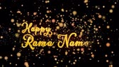 immortal : Happy Rama Namavi Abstract particles and fireworks greeting card text with shiny black background for festivals,events,holidays,party,celebration.