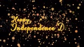 julho : Happy Independence Day Abstract particles and fireworks greeting card text with shiny black background for festivals,events,holidays,party,celebration. Stock Footage