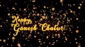Happy Ganesh Chaturthi Abstract particles and fireworks greeting card text with shiny black background for festivals,events,holidays,party,celebration. Stock Footage