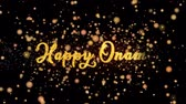Happy Onam Abstract particles and fireworks greeting card text with shiny black background for festivals,events,holidays,party,celebration.