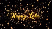 Happy Lohri Abstract particles and fireworks greeting card text with shiny black background for festivals,events,holidays,party,celebration.