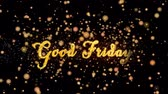Good Friday Abstract particles and fireworks greeting card text with shiny black background for festivals,events,holidays,party,celebration.