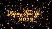 Happy New Year 2019 Abstract particles and fireworks greeting card text with shiny black background for festivals,events,holidays,party,celebration.