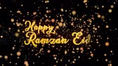 Happy Ramzan Eid Abstract particles and fireworks greeting card text with shiny black background for festivals,events,holidays,party,celebration.
