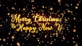 Merry Christmas Happy New Year Abstract particles and fireworks greeting card text with shiny black background for festivals,events,holidays,party,celebration.