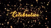 cortina : Celebration Abstract particles and glitter fireworks greeting card