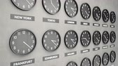 adversidade : Round clocks show time in different cities on white dark concrete wall. Symbol for Greenwich Mean Time. Clock face timelapse 60fps 4K animation.
