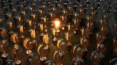 isqueiro : Light Bulb Is Lit Among The Array Of Glass Bulbs. 60 fps loopable animation.
