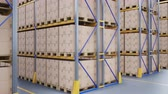 distribution : Yellow metall shelves, pallets with cardboard boxes in modern warehouse interior. 60 fps animation.