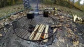 wood grill : Preparing barbecue at camp area Stock Footage
