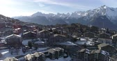 wallis : Nendaz station center, descending travellling - Aerial 4K