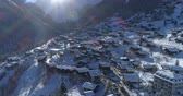 wallis : Grimentz winter back traveling - Aerial 4K